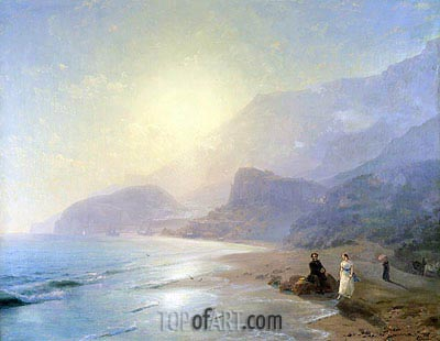 Pushkin and Countess Raevskaya by the Sea near Gurzuf and Partenit, 1886 | Aivazovsky| Painting Reproduction