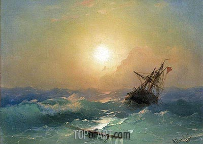 A Ship in Distress, 1865 | Aivazovsky | Painting Reproduction