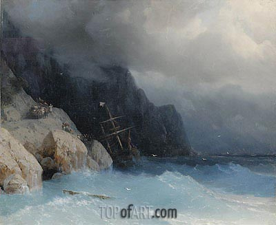 Survivors of a Shipwreck on a Rocky Path, 1868 | Aivazovsky| Painting Reproduction
