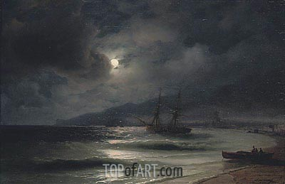 On the Coast at Night, 1875 | Aivazovsky| Painting Reproduction