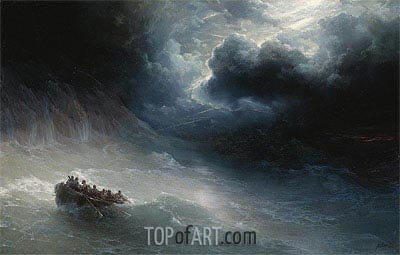 The Wrath of the Seas, 1886 | Aivazovsky | Gemälde Reproduktion