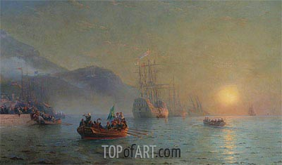 Columbus Sailing from Palos, 1892 | Aivazovsky| Painting Reproduction