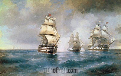 Battle of the Brig Mercury with two Turkish Battleships, 1892 | Aivazovsky | Gemälde Reproduktion