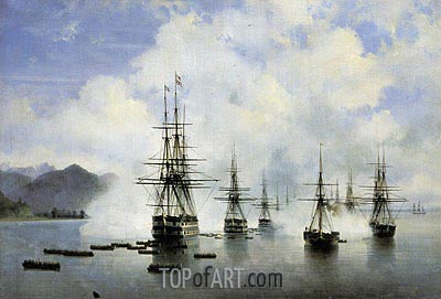The Landing Raevsky in Subashi, 1839 | Aivazovsky | Painting Reproduction