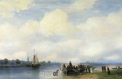 The Arrival of Peter I on Neva, 1853 | Aivazovsky| Painting Reproduction
