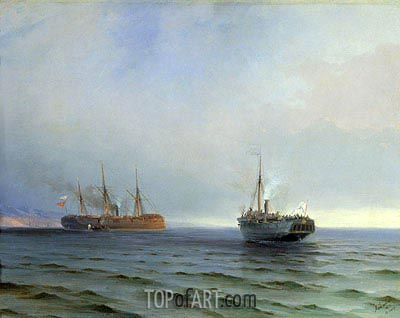 Aivazovsky | The Seizure of the Steamship 'Russia' the Turkish Military Ship 'Messina' in the Black Sea on Dec. 13, 1877, 1877