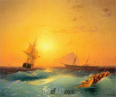 American Shipping off the Rock of Gibraltar, 1873 | Aivazovsky| Painting Reproduction