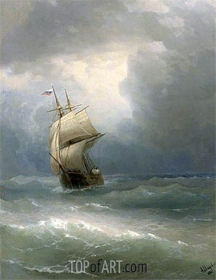 Ship at Sea, 1888 | Aivazovsky | Gemälde Reproduktion