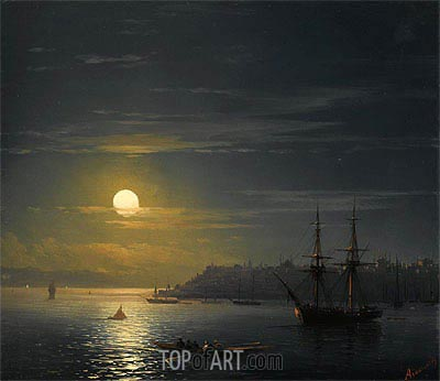 View of Constantinople in Moonlight,  | Aivazovsky | Painting Reproduction
