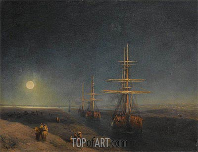 Ships Passing through a Canal in Moonlight, 1876 | Aivazovsky| Painting Reproduction