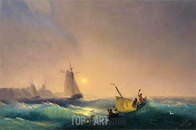 Shipping off the Dutch Coast, 1844 | Aivazovsky | Painting Reproduction