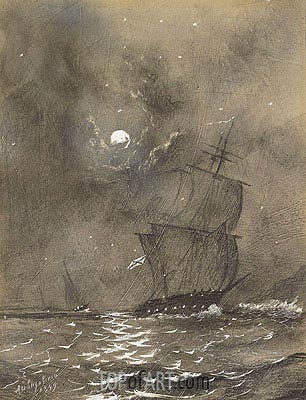 Vessels in Full Sail by Moonlight ,  | Aivazovsky| Painting Reproduction