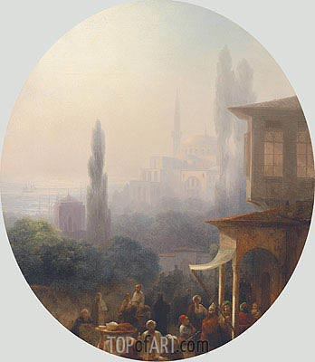 A Market Scene in Constantinople, 1860 | Aivazovsky| Painting Reproduction