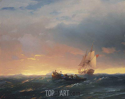 Vessels in a Swell at Sunset , 1850 | Aivazovsky | Gemälde Reproduktion