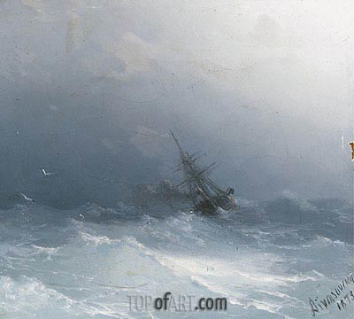 An American Steamer in Heavy Seas , 1873 | Aivazovsky| Painting Reproduction