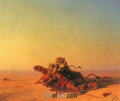 Lions in the Desert, 1874 | Aivazovsky| Painting Reproduction