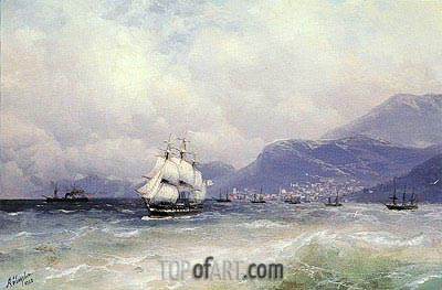 Russian and Turkish Shipping off Trabzon, 1888 | Aivazovsky | Painting Reproduction