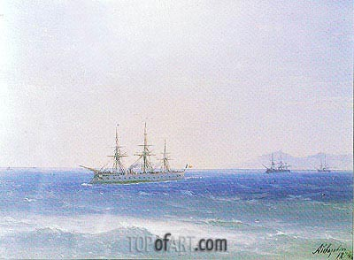 Aivazovsky | French Warships offshore, 1874
