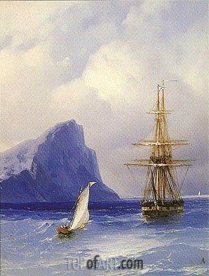 Sailing Boat approaching a Russian Ship, undated | Aivazovsky | Gemälde Reproduktion