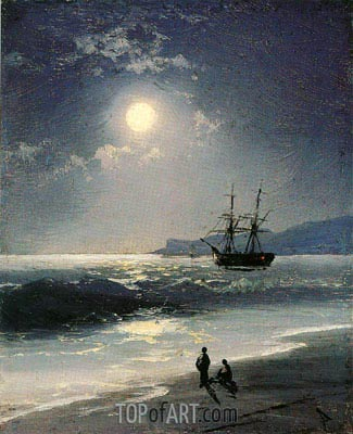 Aivazovsky | Sailing Ship on a Calm Sea by Moonlight, 1897