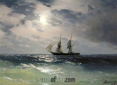The Brig Mercury in the Moonlight, 1874 | Aivazovsky| Painting Reproduction