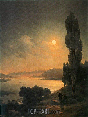 Constantinople, Moonlit View from Eyup, 1874 | Aivazovsky | Painting Reproduction