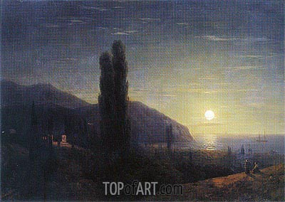 Crimean View in the Moonlight, 1860 | Aivazovsky| Painting Reproduction