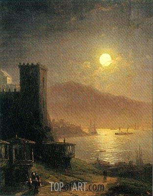 Aivazovsky | Genoese Tower off the Crimean Coast, 1888