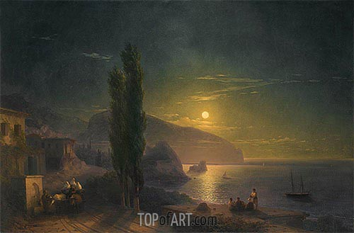 Ayu Dag under a Full Moon, 1856 | Aivazovsky| Painting Reproduction