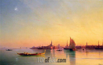 Sunset over the Venetian Lagoon, 1873 | Aivazovsky| Painting Reproduction