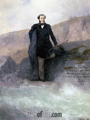 Pushkin on the Shore of the Black Sea, 1897 | Aivazovsky | Gemälde Reproduktion