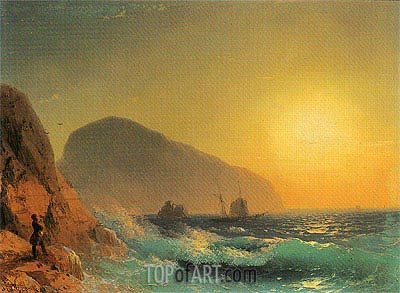Pushkin Looking out to Sea from the Crimean Coast, 1889 | Aivazovsky| Painting Reproduction