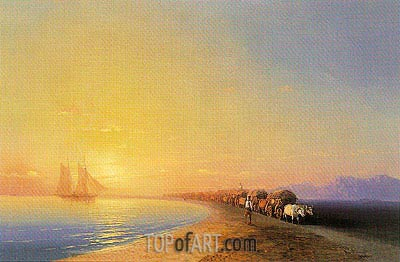 Ox Train on the Sea Shore, undated | Aivazovsky| Painting Reproduction