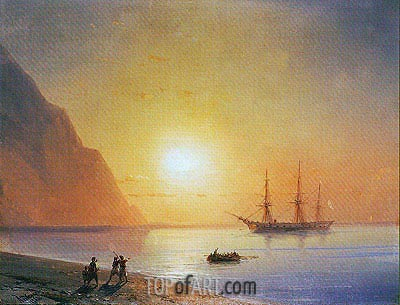 Russian Warship off the Beach, 1868 | Aivazovsky | Painting Reproduction