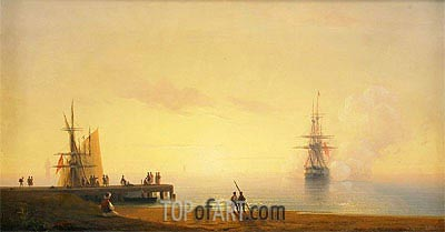 Turkish Coastal Scene, Ship off the Beach, 1845 | Aivazovsky | Painting Reproduction