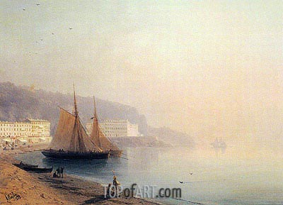 On the Beach at Sunset, 1878 | Aivazovsky | Painting Reproduction