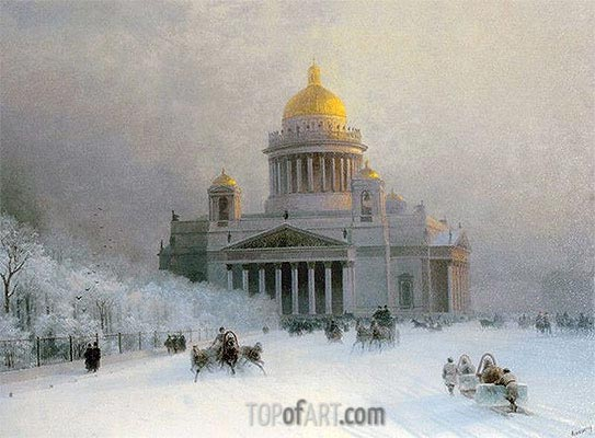 St. Petersburg: St. Isaac's Cathedral on a Frosty Day, undated | Aivazovsky| Gemälde Reproduktion