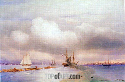 Steamship and Rafts off St. Petersburg, 1859 | Aivazovsky | Painting Reproduction