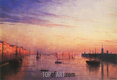 View along the Neva in St. Petersburg with the Stock Exchange in the Distance, 1881 | Aivazovsky | Gemälde Reproduktion