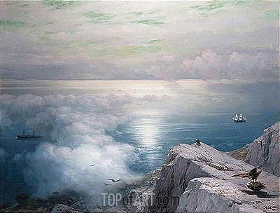 A Rocky Coastal Landscape in the Aegean with Ships in the Distance, 1884 | Aivazovsky | Gemälde Reproduktion