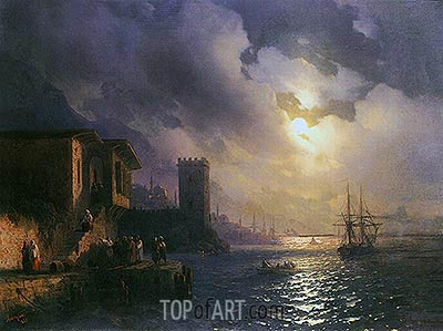 Capriccio of Ottoman Coastal Scene on a Moonlit Night, 1867 | Aivazovsky | Painting Reproduction