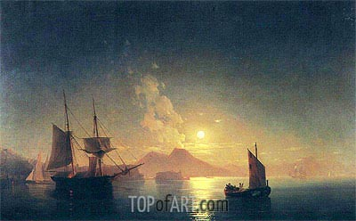 View of Vesuvius on a Moonlit Night, undated | Aivazovsky | Gemälde Reproduktion