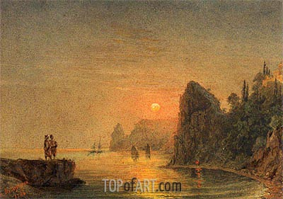 Coastal Sunset, 1846 | Aivazovsky | Painting Reproduction