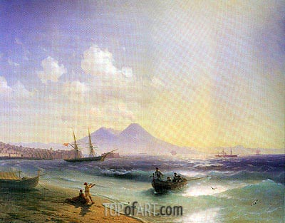 Fishermen Returning near Naples, 1874 | Aivazovsky | Painting Reproduction