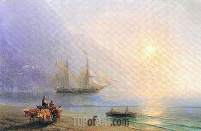 Loading Provisions off the Crimean Coast, 1876 | Aivazovsky| Painting Reproduction