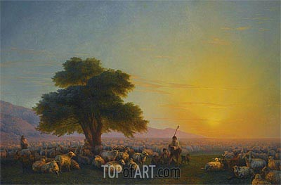 A Shepherd and his Flock in the Crimea, 1859 | Aivazovsky | Painting Reproduction