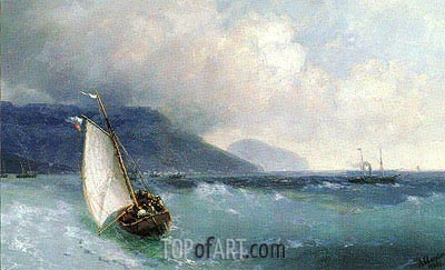 Sailing Boat off Yalta, Ayu Dag beyond, 1893 | Aivazovsky | Painting Reproduction