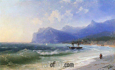 The Beach at Koktebel on a Windy Day, undated | Aivazovsky | Painting Reproduction