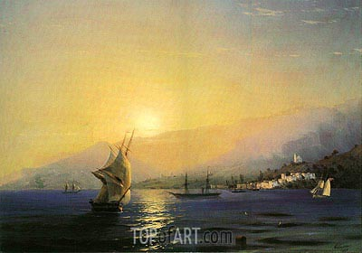Yalta at Sunset, 1859 | Aivazovsky | Painting Reproduction