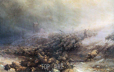 Stampede of Sheep into Icy Water, 1884 | Aivazovsky | Gemälde Reproduktion